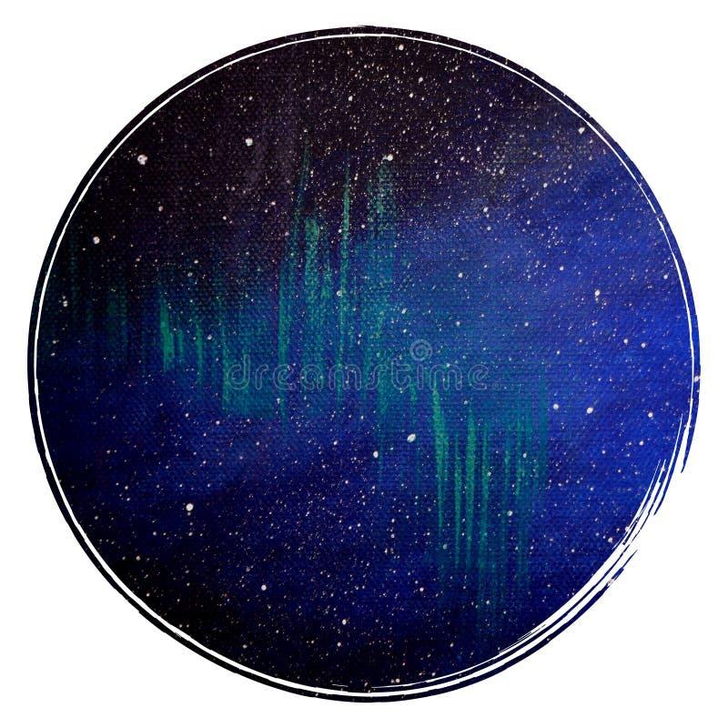 Fondo del cerchio dello spazio Illustrazione dello spazio nel cerchio Modello per le carte ed i manifesti Immagine cosmica royalty illustrazione gratis