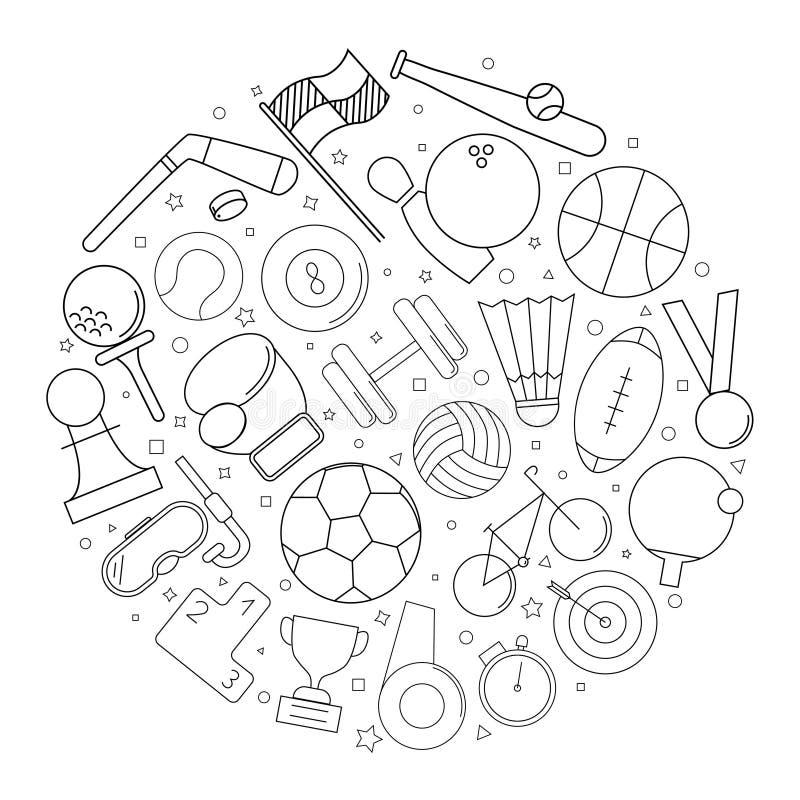 Fondo del cerchio di sport dalla linea icona modello lineare di vettore royalty illustrazione gratis