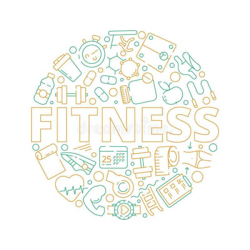 Fondo del cerchio di sport Simboli di forma fisica nel vettore sano di preparazione di formazione personale delle vitamine di spo illustrazione di stock