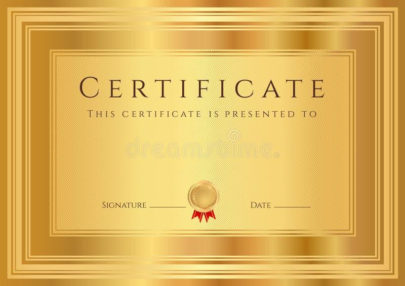 Fondo del certificato/diploma dell'oro (modello) royalty illustrazione gratis