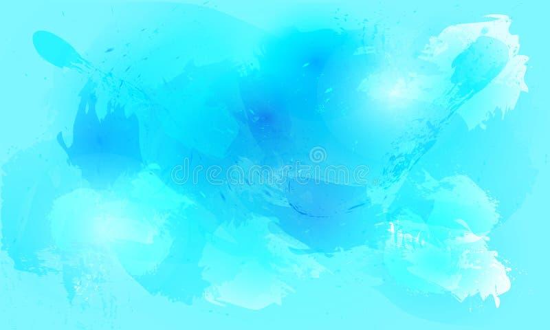 Fondo del chapoteo de la acuarela en tintes azules stock de ilustración