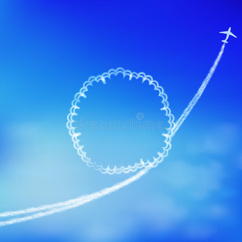 Fondo del cielo azul con el rastro de un aeroplano. stock de ilustración
