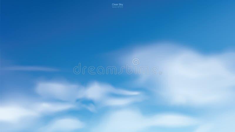 Fondo del cielo azul con las nubes blancas Cielo abstracto para el fondo natural stock de ilustración