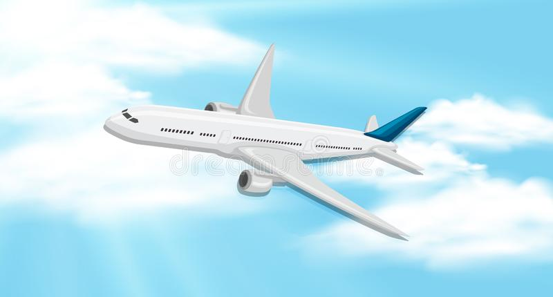 Fondo del cielo con il volo dell'aeroplano royalty illustrazione gratis