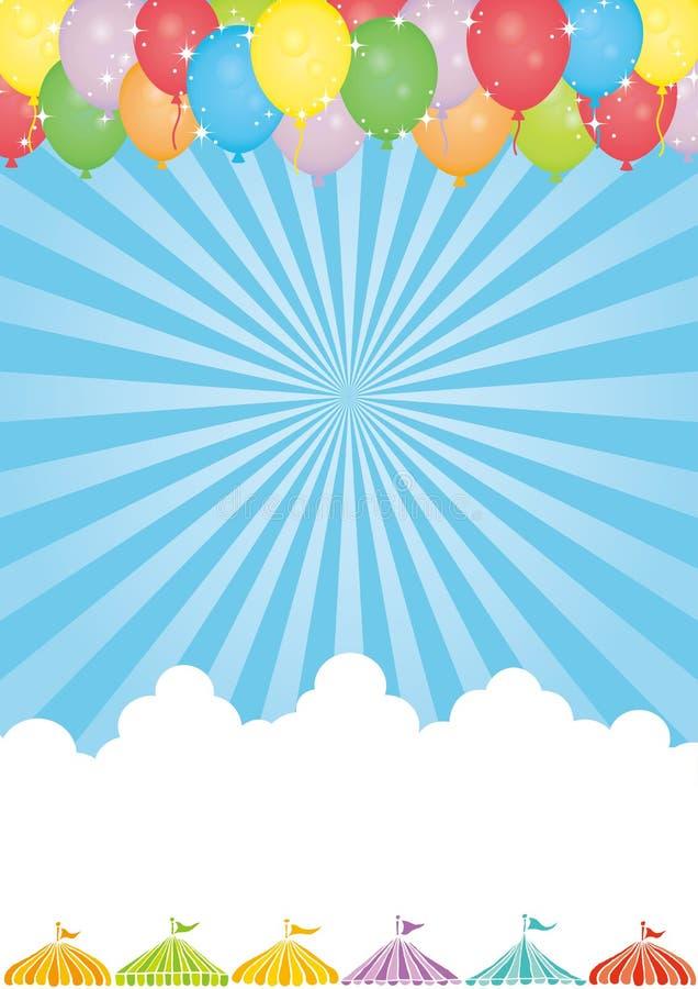 Fondo del cielo con las tiendas del globo y del evento ilustración del vector