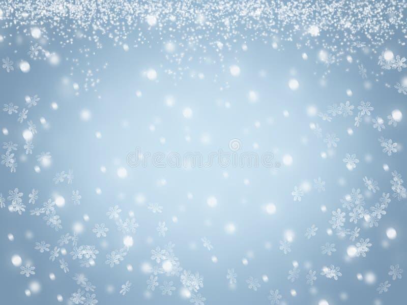 Fondo del cielo di inverno di Natale con i fiocchi di neve e le stelle di cristallo royalty illustrazione gratis