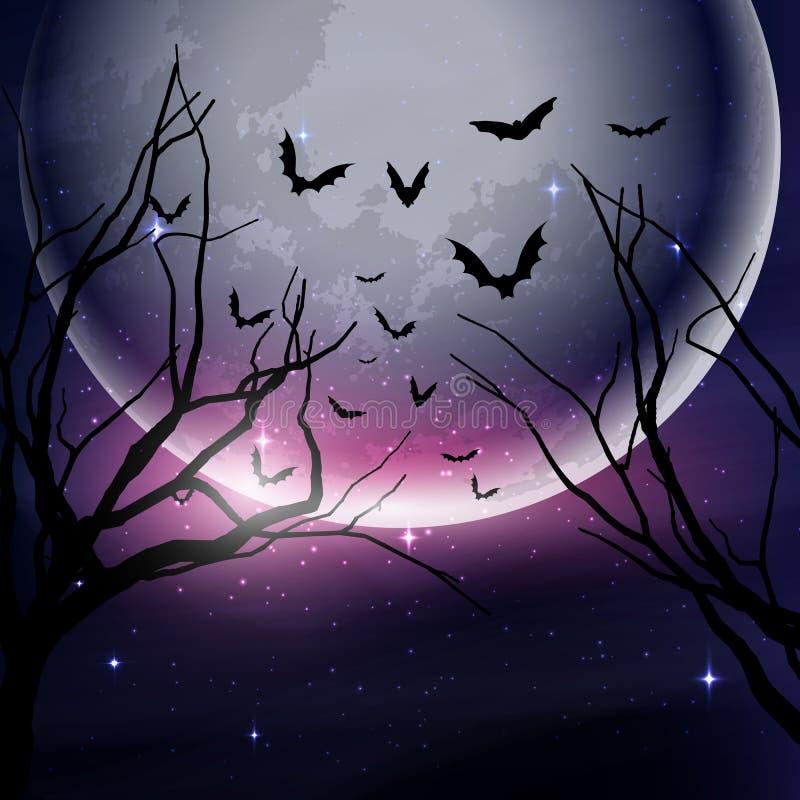 Fondo del cielo nocturno de Halloween ilustración del vector