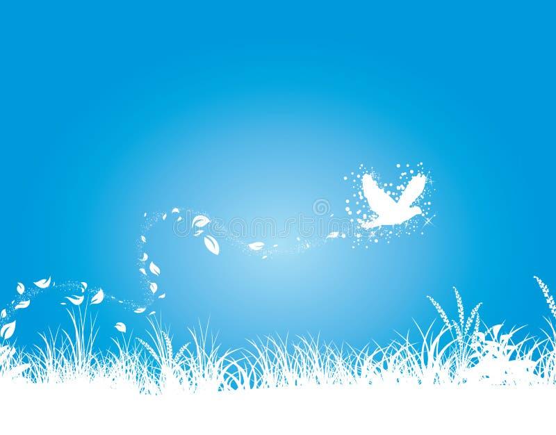 Fondo del cielo notturno e dell'erba illustrazione di stock