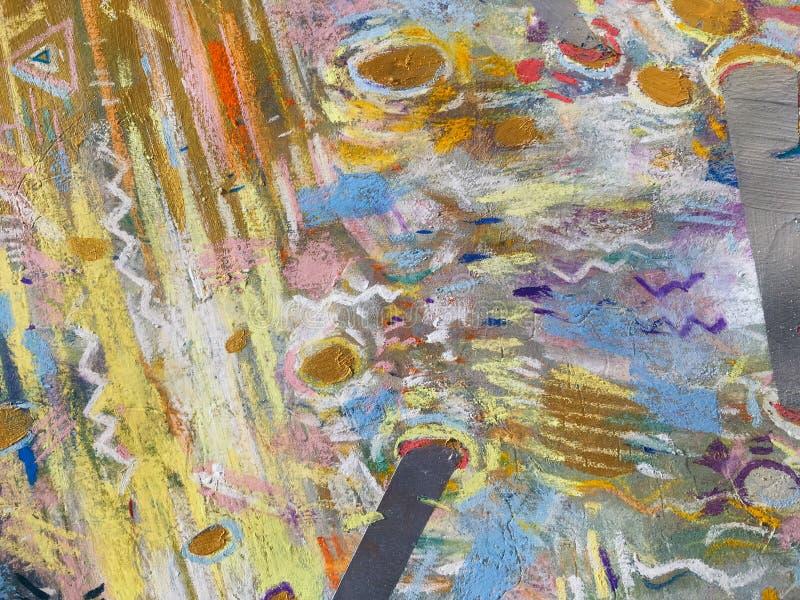 Fondo del cielo del oro del expresionismo Textura de pintura de moda ilustración del vector