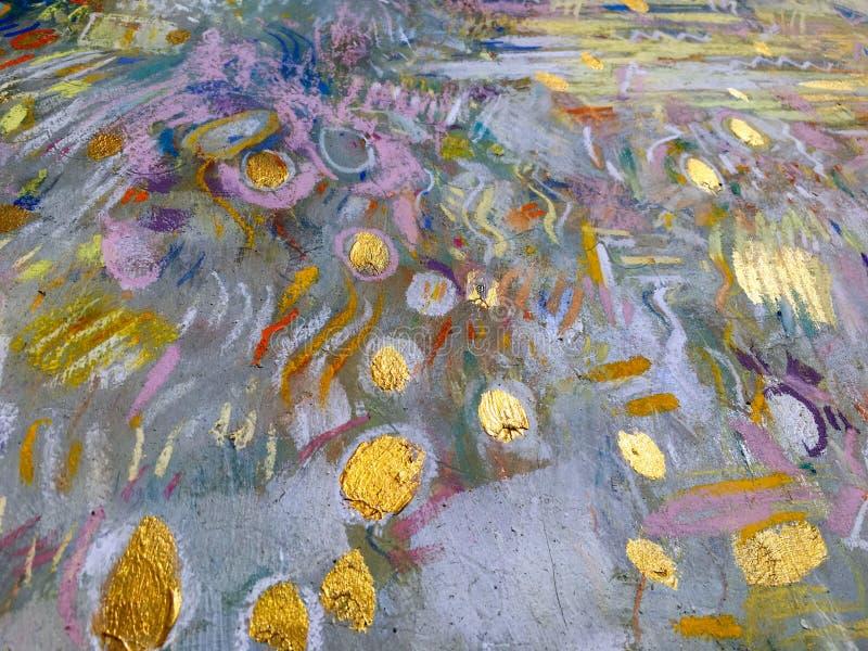 Fondo del cielo del oro del expresionismo Textura de pintura de moda stock de ilustración