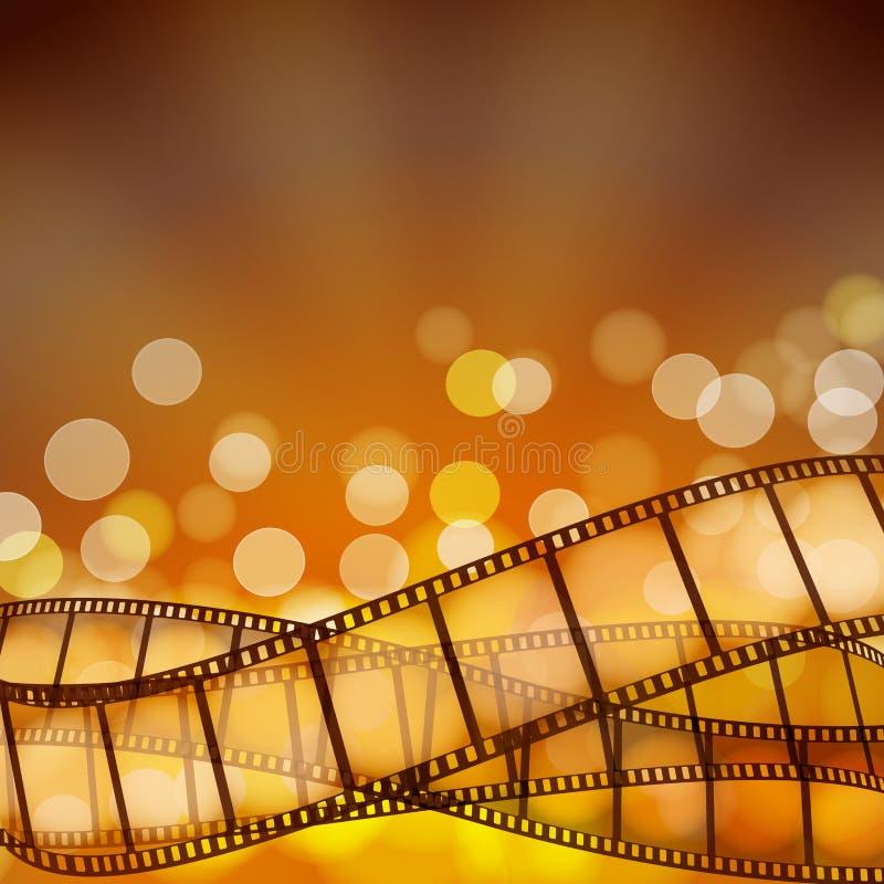 Fondo del cine con las tiras de la película y los rayos ligeros ilustración del vector