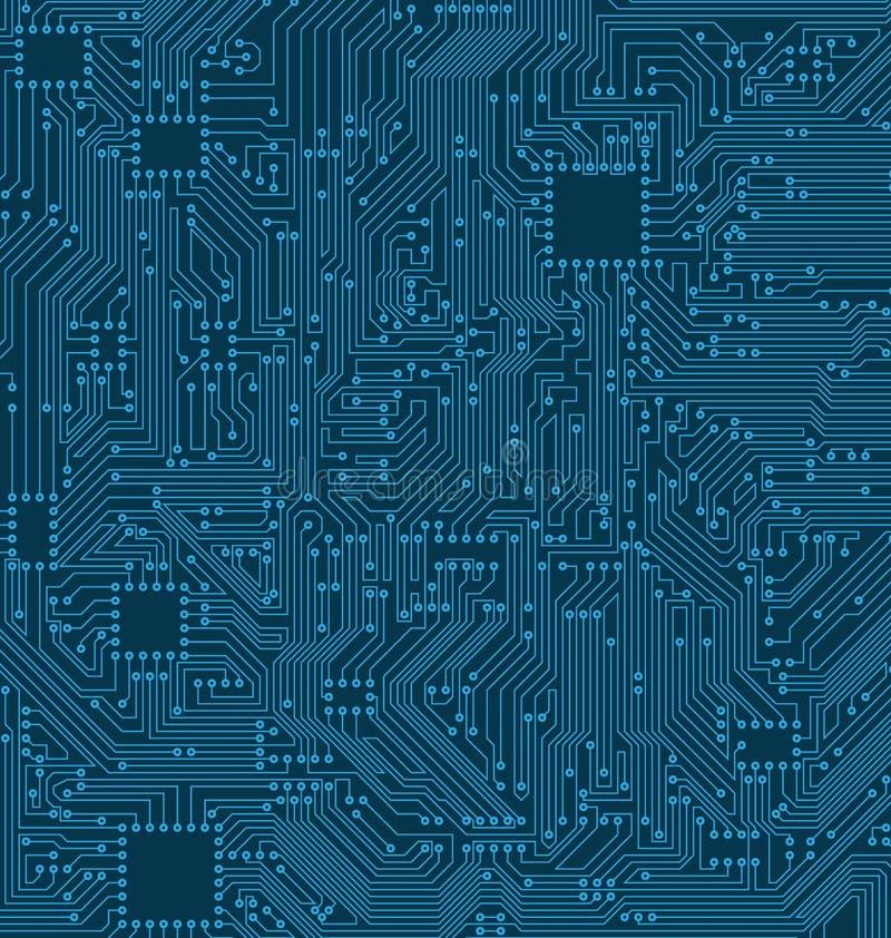 Fondo del circuito de Digitaces Textura del procesador, placa madre stock de ilustración