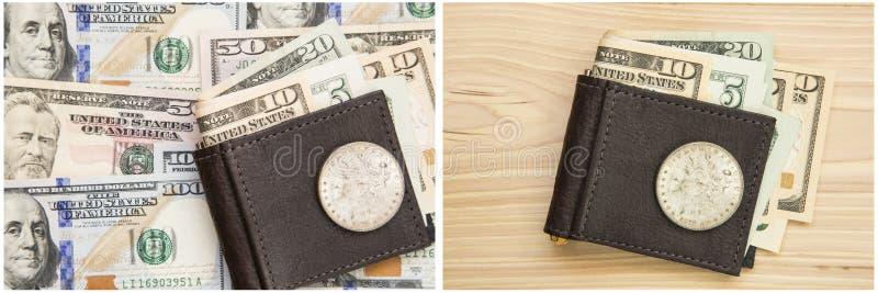 Fondo del collage del dollaro d'argento di Morgan dei contanti dei fermasoldi fotografie stock libere da diritti