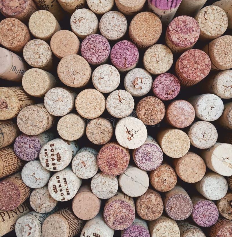 Fondo del collage del vino del corcho imagenes de archivo
