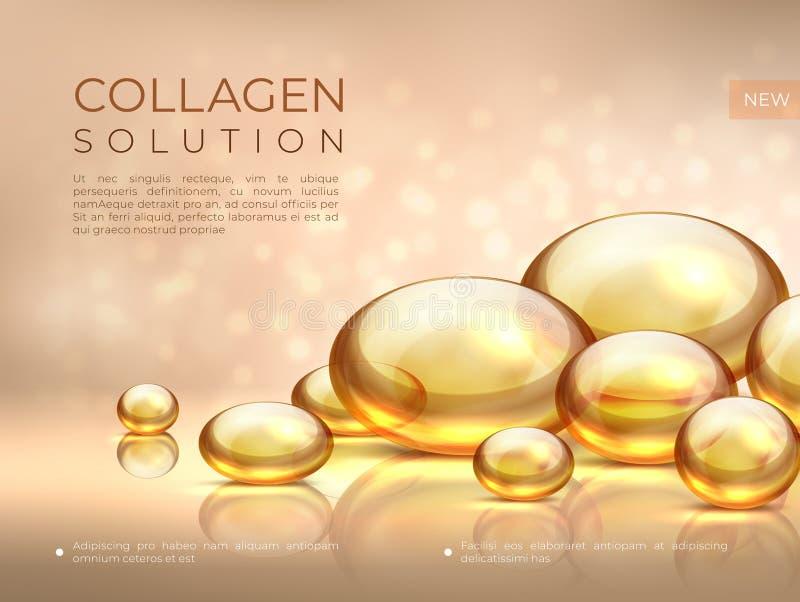 Fondo del collagene Bolla dell'olio biondo, essenza cosmetica di cura di pelle, maschera di protezione del siero di bellezza Coll illustrazione vettoriale