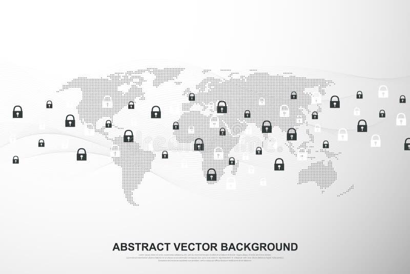 Fondo del collegamento di rete globale Affare globale di concetto cyber di sicurezza Fondo di comunicazione di Internet royalty illustrazione gratis