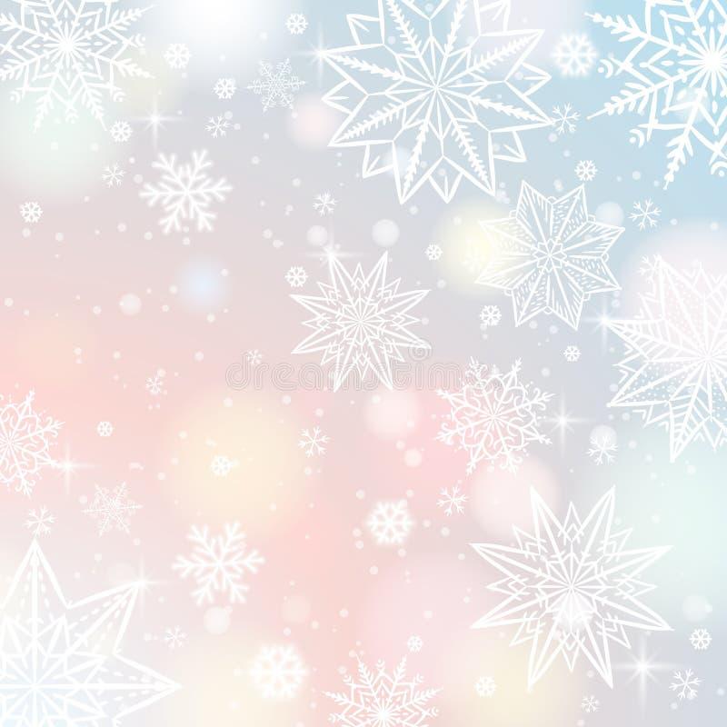 Fondo del color claro con los copos de nieve y las estrellas, vector libre illustration