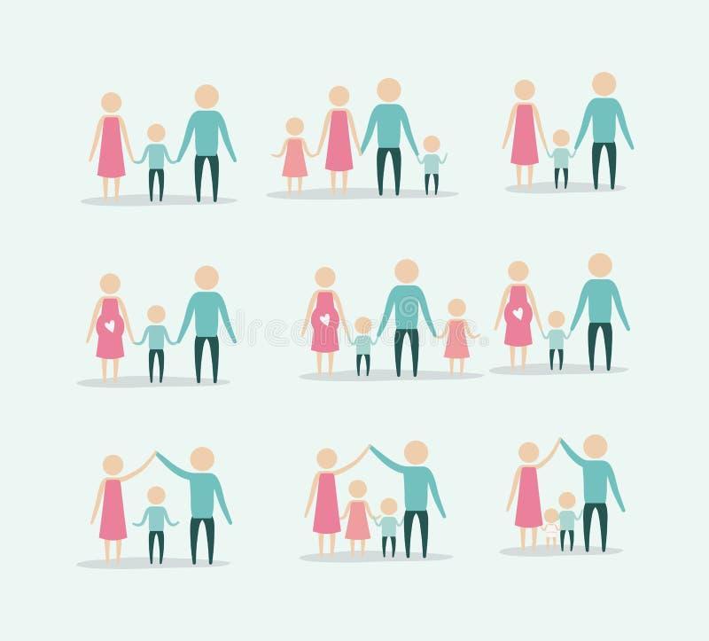 Fondo del color con la gente determinada de las generaciones del pictograma de la silueta de la familia ilustración del vector