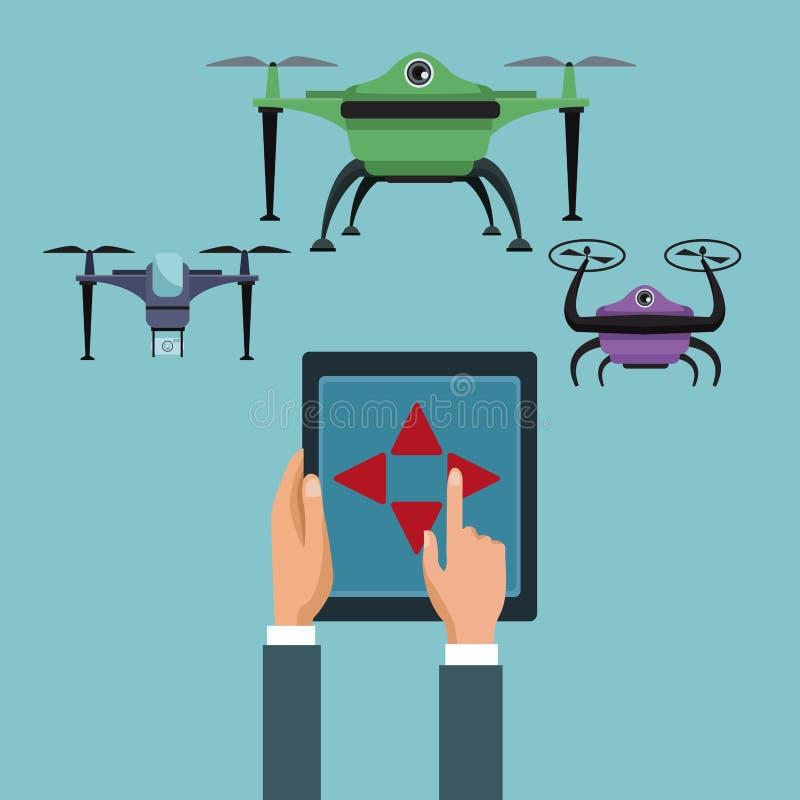 Fondo del color con la tableta teledirigida de la tecnología de la manija de la gente de quadrocopters y de abejones ilustración del vector