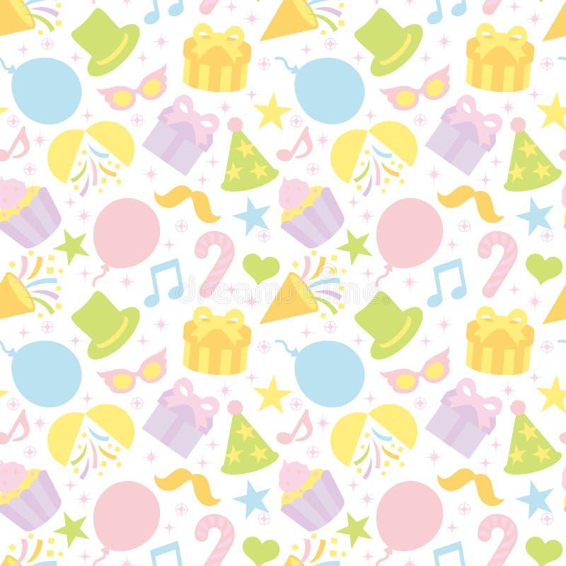 Fondo del color en colores pastel con las mercancías del partido stock de ilustración