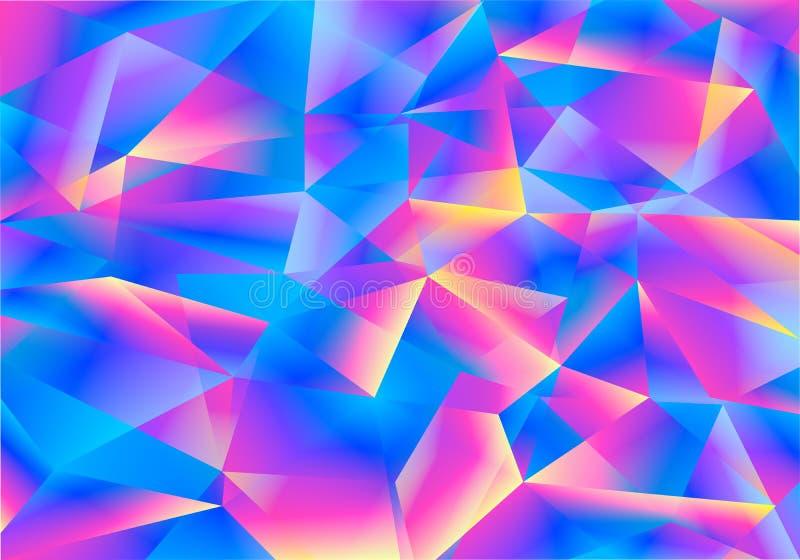 Fondo del color que riela con los triángulos abstractos Vector BG brillante iridiscente ilustración del vector