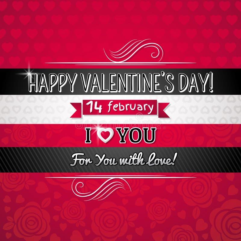 Fondo del color rojo con el corazón y el deseo de la tarjeta del día de San Valentín stock de ilustración
