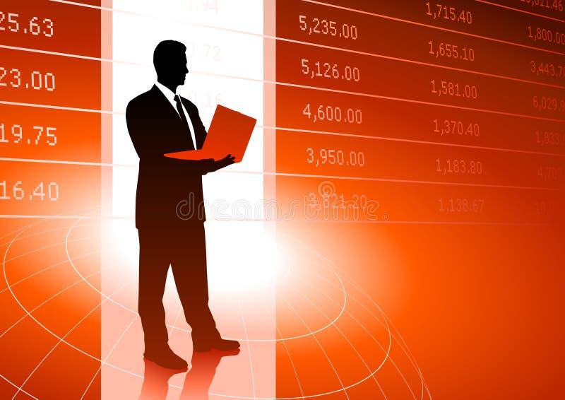 Fondo del comerciante común con datos del mercado ilustración del vector