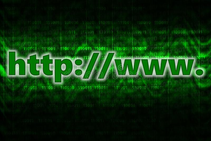 Fondo del computer del HTTP con il codice binario illustrazione vettoriale