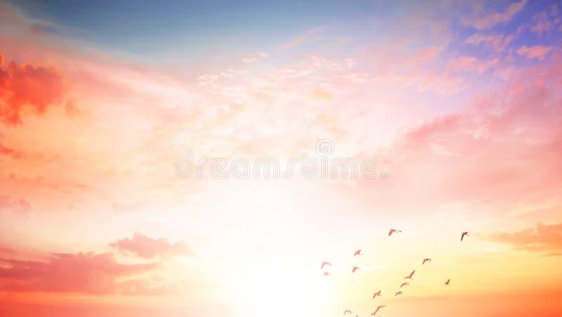 Fondo del concepto colorido del cielo: Puesta del sol dramática con el cielo y las nubes crepusculares del color imágenes de archivo libres de regalías