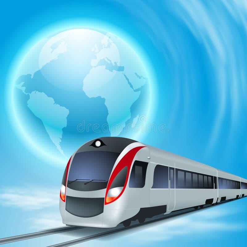 Fondo del concepto con el tren de alta velocidad. ilustración del vector