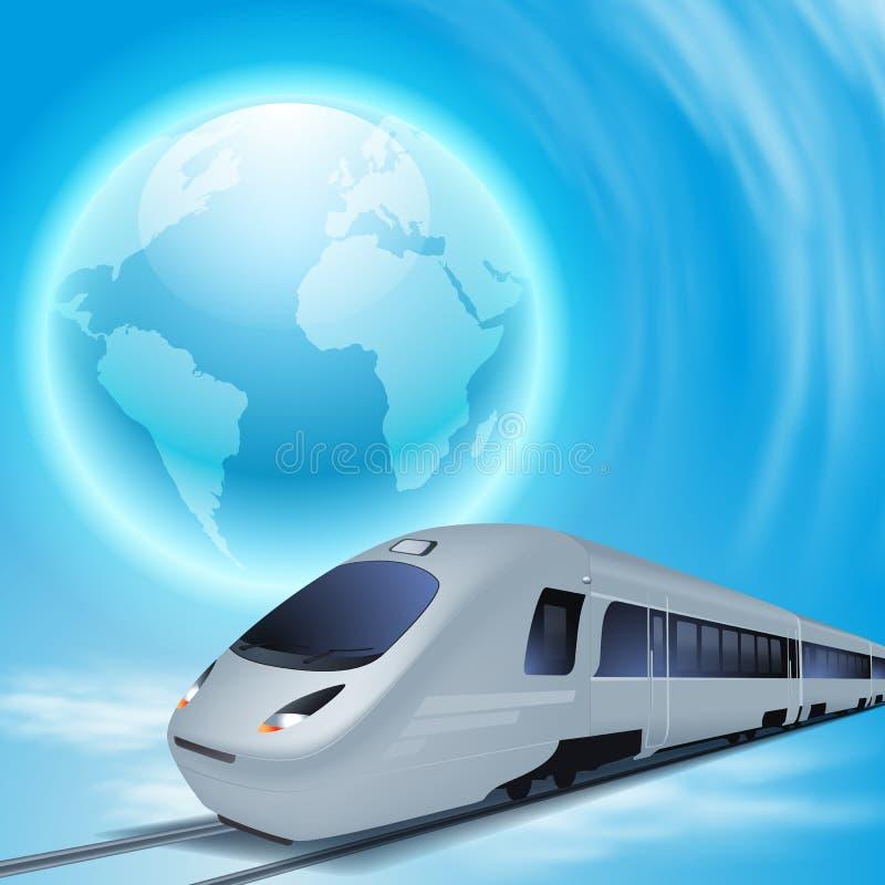 Fondo del concepto con el tren de alta velocidad y el globo stock de ilustración