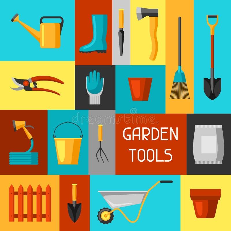 Fondo del concepto con los utensilios de jardinería y los iconos Todos para el ejemplo del negocio que cultiva un huerto ilustración del vector