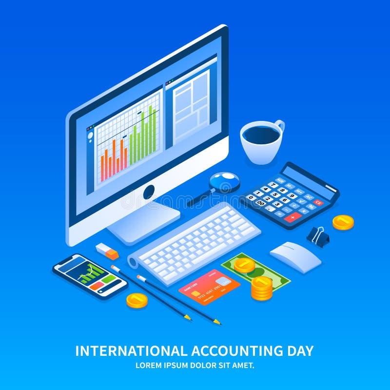 Fondo del concepto del día de fiesta del día de contabilidad, estilo isométrico ilustración del vector