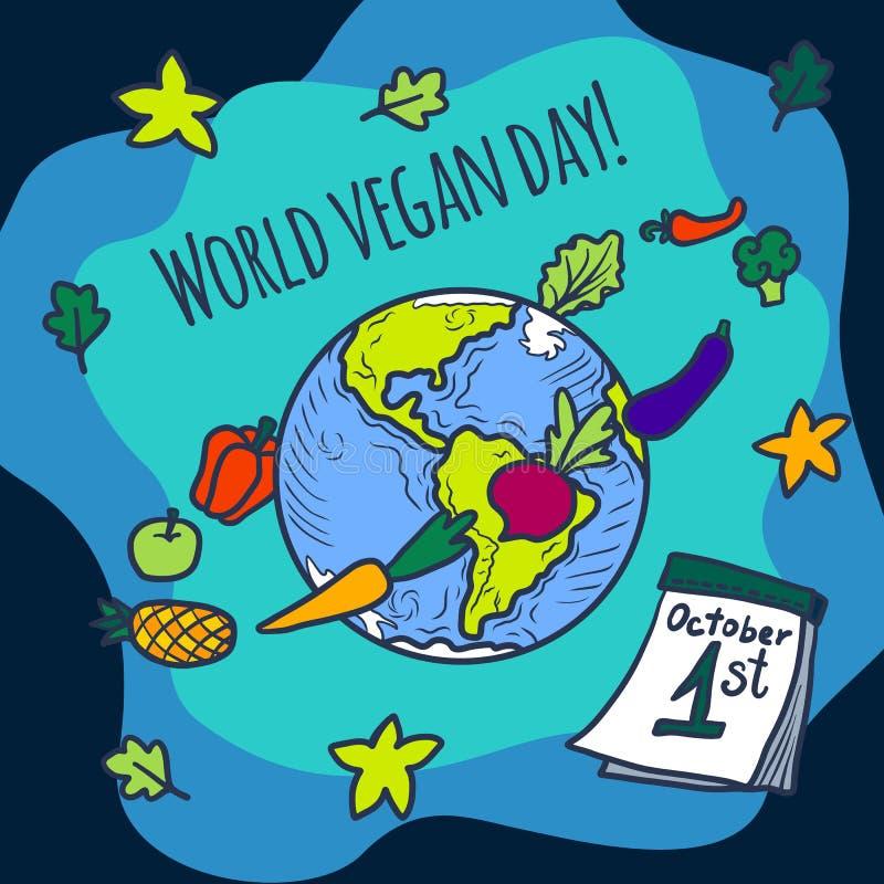 Fondo del concepto del día del vegano del mundo, estilo dibujado mano libre illustration