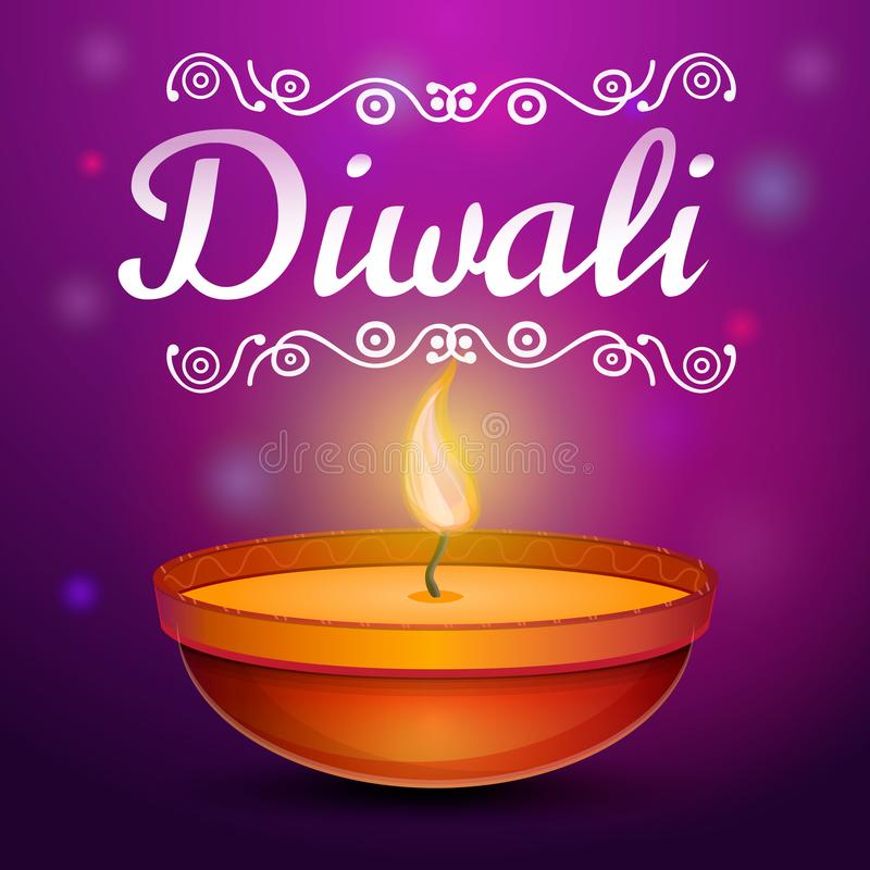Fondo del concepto de Diwali, estilo de la historieta stock de ilustración