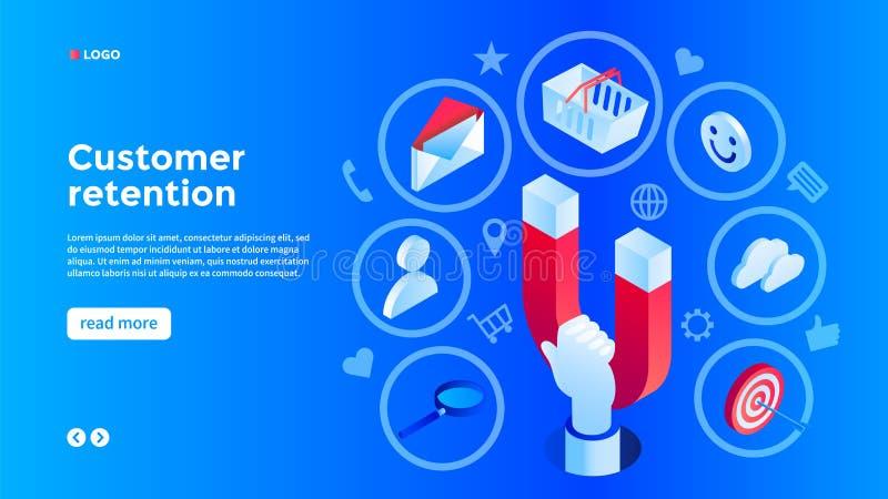 Fondo del concepto de la atracción del cliente, estilo isométrico ilustración del vector