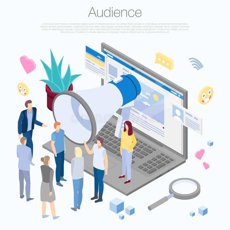 Fondo del concepto de la audiencia, estilo isométrico stock de ilustración