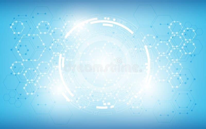 Fondo del concepto de la ciencia de la tecnología del modelo de la textura del hexágono de la estructura molecular libre illustration
