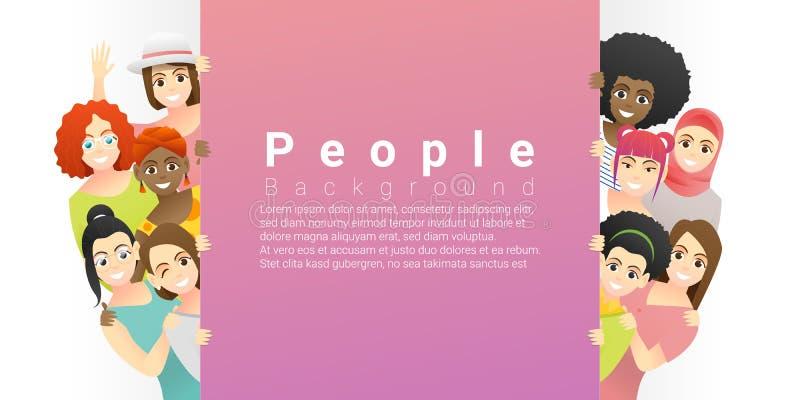 Fondo del concepto de la diversidad, grupo de mujeres étnicas multi felices que se colocan detrás de tablero vacío stock de ilustración