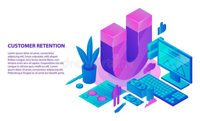 Fondo del concepto de la estrategia de la retención, estilo isométrico stock de ilustración