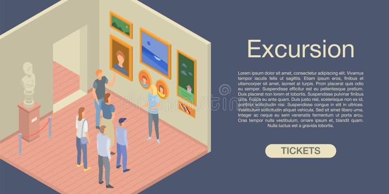 Fondo del concepto de la excursión, estilo isométrico stock de ilustración