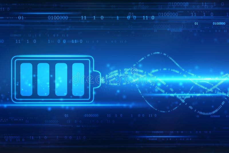 Fondo del concepto de la fuente de bater?a, concepto del rendimiento energ?tico stock de ilustración