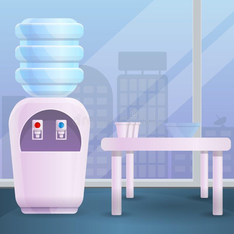Fondo del concepto de la oficina del agua de refrigerador, estilo de la historieta stock de ilustración