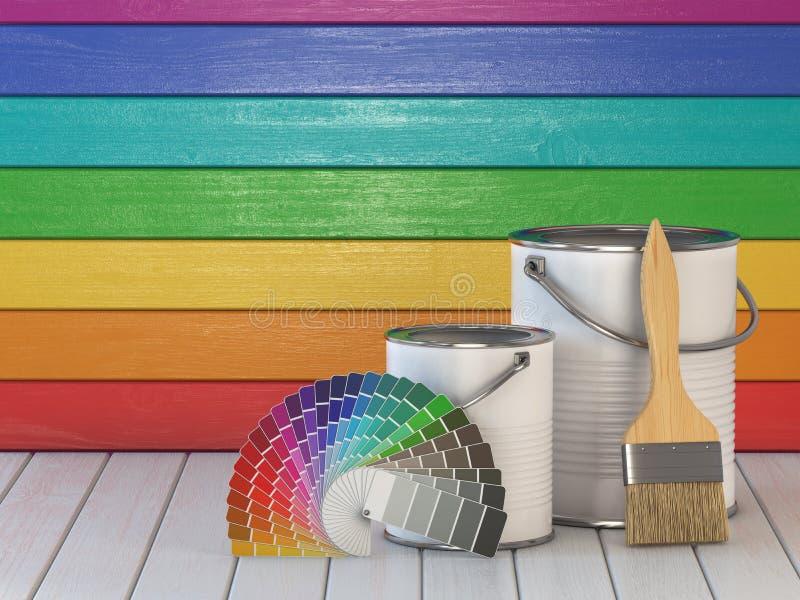 Fondo del concepto de la renovación y de la mejora de la casa Pinte las latas, stock de ilustración