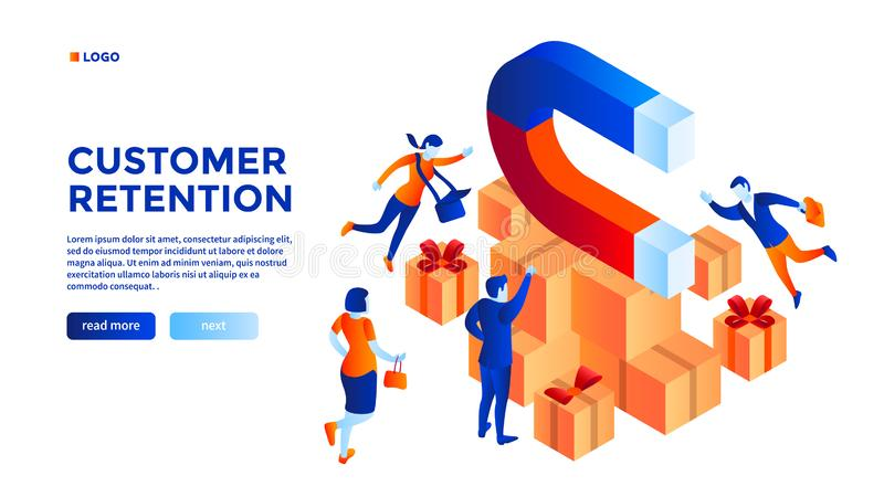 Fondo del concepto de la retención del cliente, estilo isométrico ilustración del vector