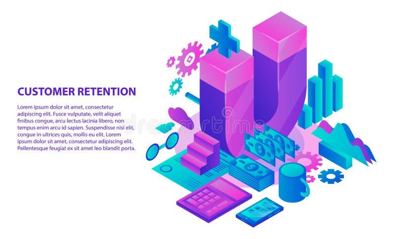 Fondo del concepto de la retención del cliente de la gestión, estilo isométrico stock de ilustración