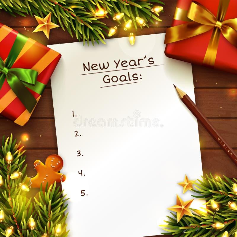 Fondo del concepto de las metas del Año Nuevo Visión superior Vector stock de ilustración