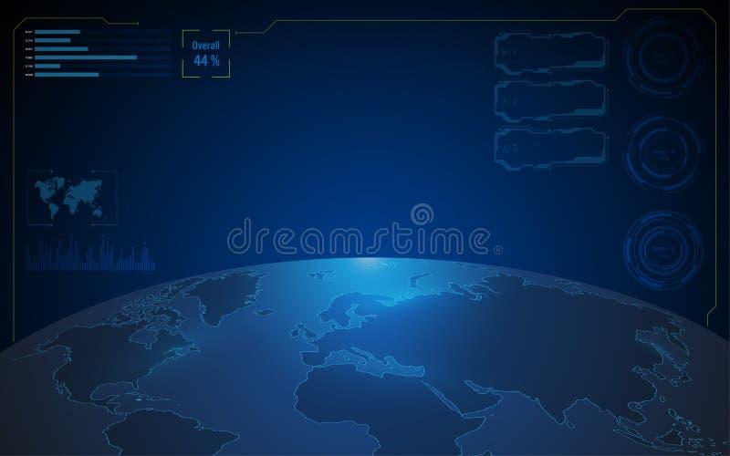 Fondo del concepto de las telecomunicaciones de la tecnología del fi del sci del mapa del mundo libre illustration