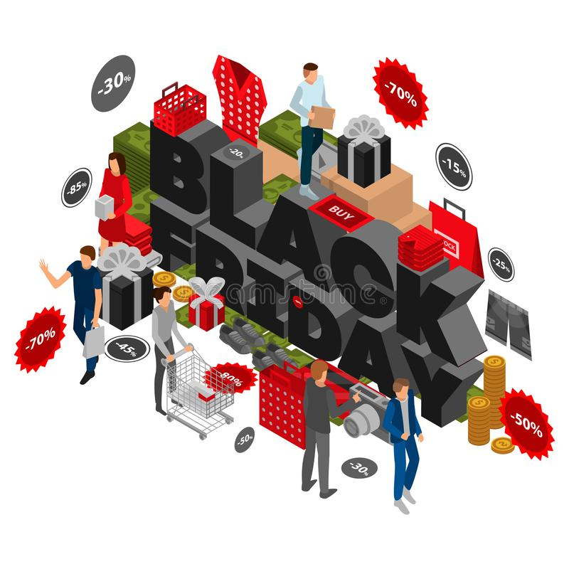 Fondo del concepto de viernes del negro del otoño, estilo isométrico stock de ilustración