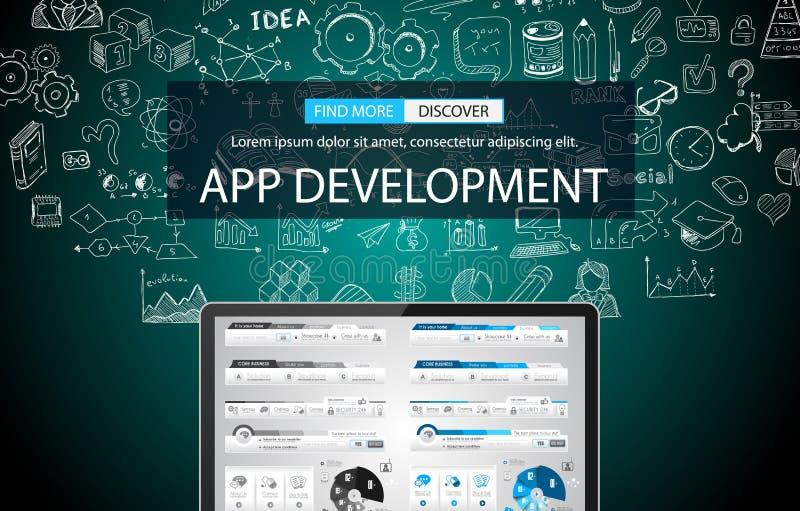 Fondo del concepto del desarrollo del App con estilo del diseño del garabato stock de ilustración